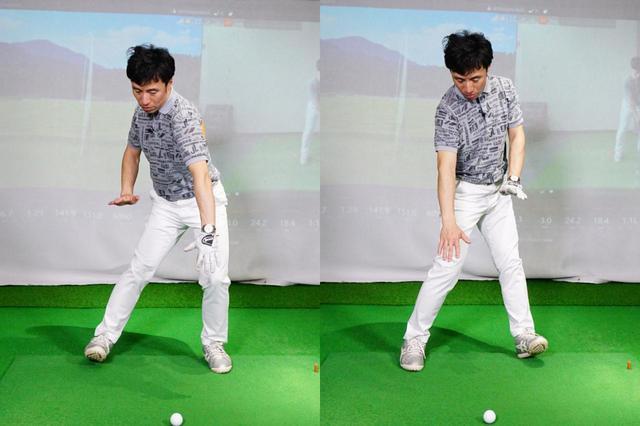 画像: 左がバックスウィング、右がバックスウィング時の足裏の体重のかける位置をおおげさに表現した写真。ダウンスウィングからインパクトにかけて、足踏みをするように体重をかける位置を変えていこう