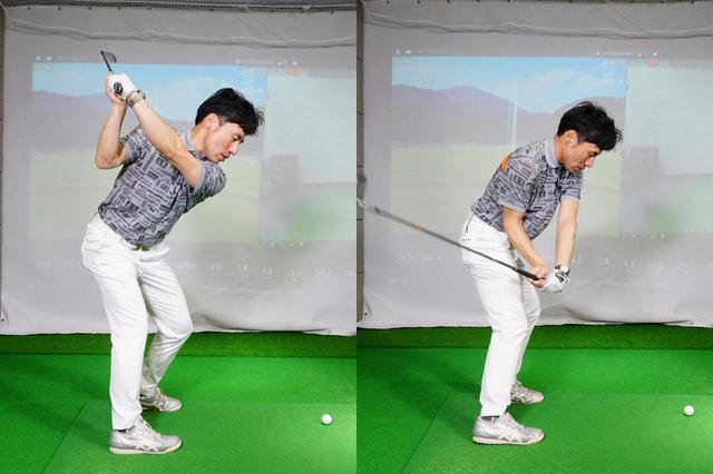 画像: 左つま先・右かかとに体重を乗せることで腰をしっかり回すことができ(左)、インサイドからクラブを下ろすことができる(右)