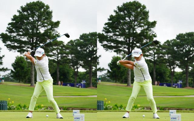 画像: 画像B フラットでコンパクトなトップ(左)から、左のわき腹を使って切り返すことで切り返しの間を作りクラブをスウィングプレーンに乗せる(右)(写真は2021年のKPMG全米女子プロゴルフ選手権 写真/KJR)