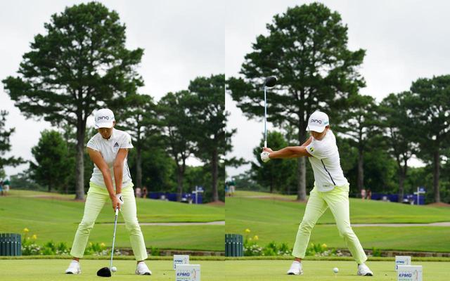 画像: 画像A アドレスで作った両肩と手元で作る三角形を崩さずにテークバック(写真は2021年のKPMG全米女子プロゴルフ選手権 写真/KJR)