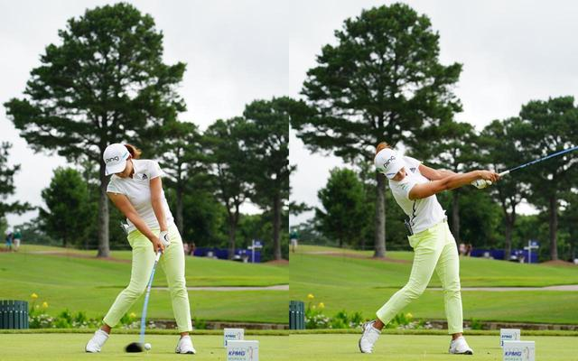 画像: 画像C 体をボールの右にキープすることでアッパー軌道でボールをとらえ(左)、大きなフォロースルーへと振り抜く(右)(写真は2021年のKPMG全米女子プロゴルフ選手権 写真/KJR)