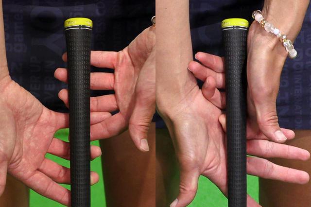 画像: 手首を使いたいときは指先の第一関節でゆるめに握り(左)、手首の動きを抑えたいときは第二・第三関節まで深く強めに握っているという(右)
