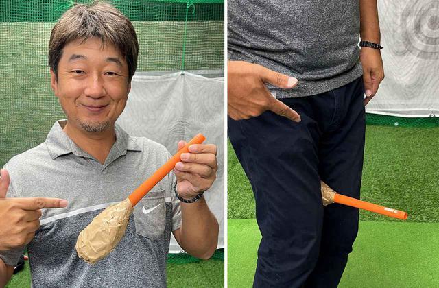 画像: かなり手作り感満点でカッコイイ練習器具ではないですね(笑)。両腿の間に挟んで使います
