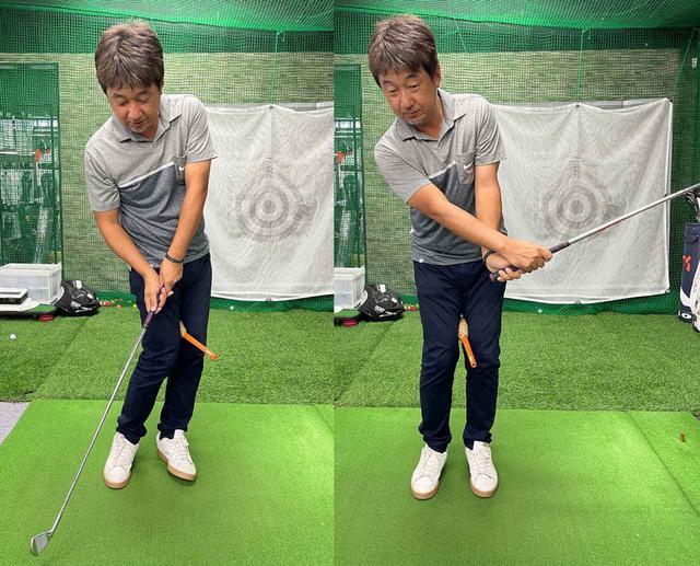 画像: (左)下半身だけが先行して回ってはいけません。(右)下半身が止まって手を返すような動きもダメです