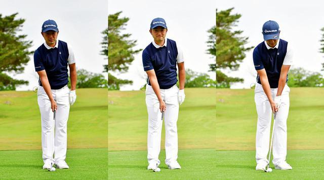 画像: 50ヤード以内のアプローチを打つ際のスタンス幅はかなり狭め。両足をそろえて体の中心にボールが位置するように立ったら、左足を半歩ほど広げ、右足はわずかにズラす程度で良い