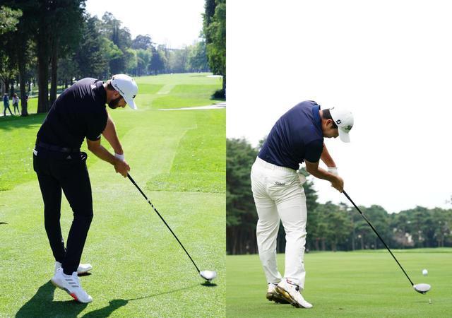 画像: 左がダスティン・ジョンソン、右が中島啓太のインパクト。大きく側屈が入り体の回転を活かしたスウィングだ