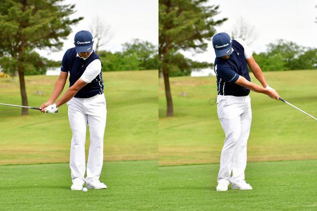 画像: 50ヤード以内の距離を狙うなら、手元が腰の高さ程度に収まる程度の振り幅で良いという