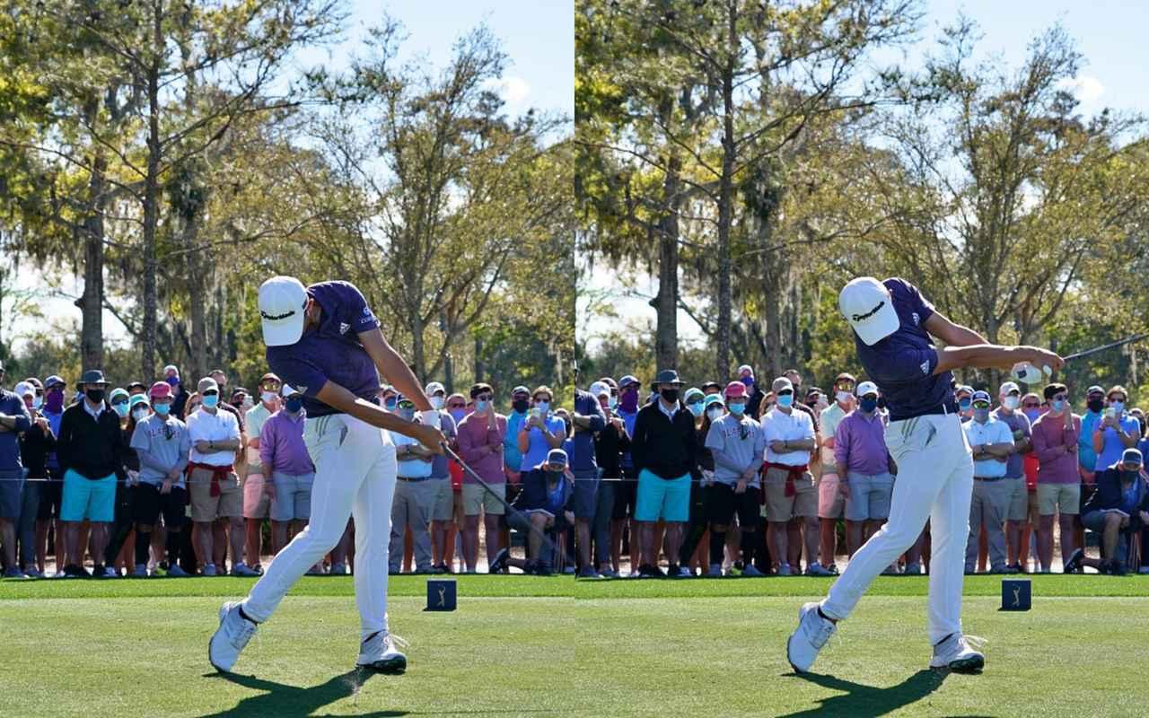 画像: 画像C 左手の甲をターゲットに向けて押し込むように使いながら(左)、フォローでは左手の甲を地面に向けるようにしっかりと手を返す(右)(2021年のザ・プレーヤーズ選手権)