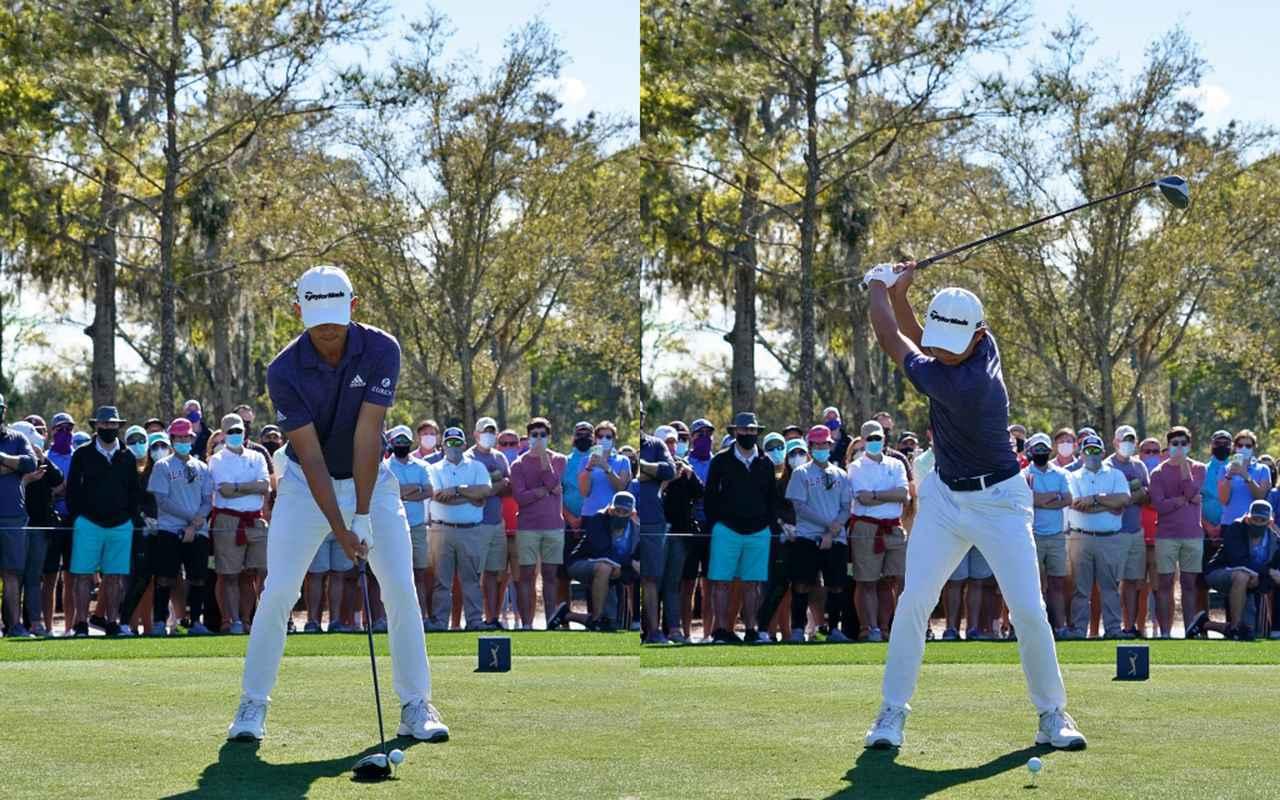 画像: 画像A ややウィークグリップで握り(左)、ひざをあまり動かさずにゆっくりとテークバックする(右)(2021年のザ・プレーヤーズ選手権)
