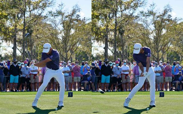 画像: 画像B 切り返しで左手を手の平側に折る掌屈を入れながらダウンし(左)、早い段階でフェースをボールに向け左手の甲をターゲットに向けながらハンドファーストでインパクトに向かう(右)(2021年のザ・プレーヤーズ選手権)