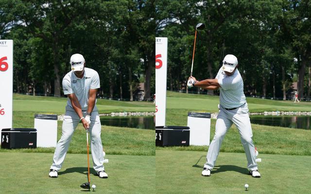 画像: 画像A 鍛え上げられた下半身に支えられ安定したアドレス(左)から右の足裏にしっかりと加重され、骨盤の前傾をキープしながらテークバック(右)する(写真は2021年のロケットモーゲージクラシック 写真/KJR)