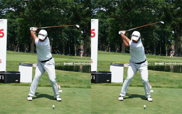 画像: 画像B 手先を使わずに下半身から切り返すことでトップでの間がでできる。その結果、手元はターゲットと反対方向に動きダウンの半径を大きくし安定した入射角とスピン量を確保する(左)(写真は2021年のロケットモーゲージクラシック 写真/KJR)