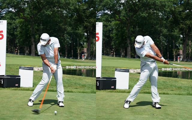 画像: 画像C 左右の画像で帽子の向きを比較してもスウィング軸がブレていないことが見て取れる(写真は2021年のロケットモーゲージクラシック 写真/KJR)