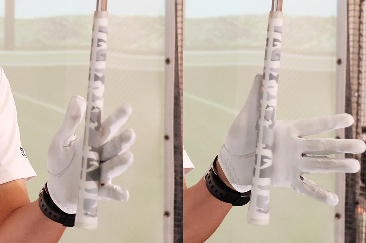 画像: 手のひらを中心に深く握る(右)のではなく、指の付け根を中心に浅く握る(左)のが正解