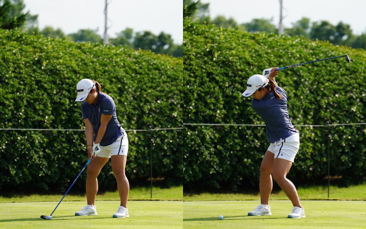 画像: 画像A オーソドックスなスクェアグリップで握り足裏全体で地面を踏みしめるよう奈安定したアドレス(左)からトップではフェースをスクェアに保つ(右)(写真は2021年のKPMG全米女子プロゴルフ選手権 写真/KJR)