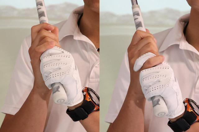 画像: 右小指を左人差し指の上に乗せるオーバーラッピング(左)と絡めて握るインターロッキング(右)。右手の握り方は主にこの2種類だ