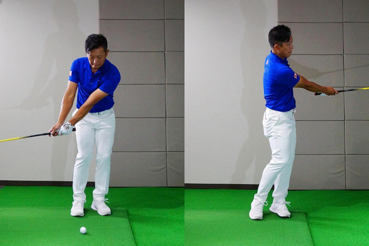 画像: ウェッジでのアプローチなど、地面にあるボールを打つ際は胸骨を少し飛球線方向へスライドさせる意識を持つと上から打ち込みすぎたりあおり打ちになりにくいという
