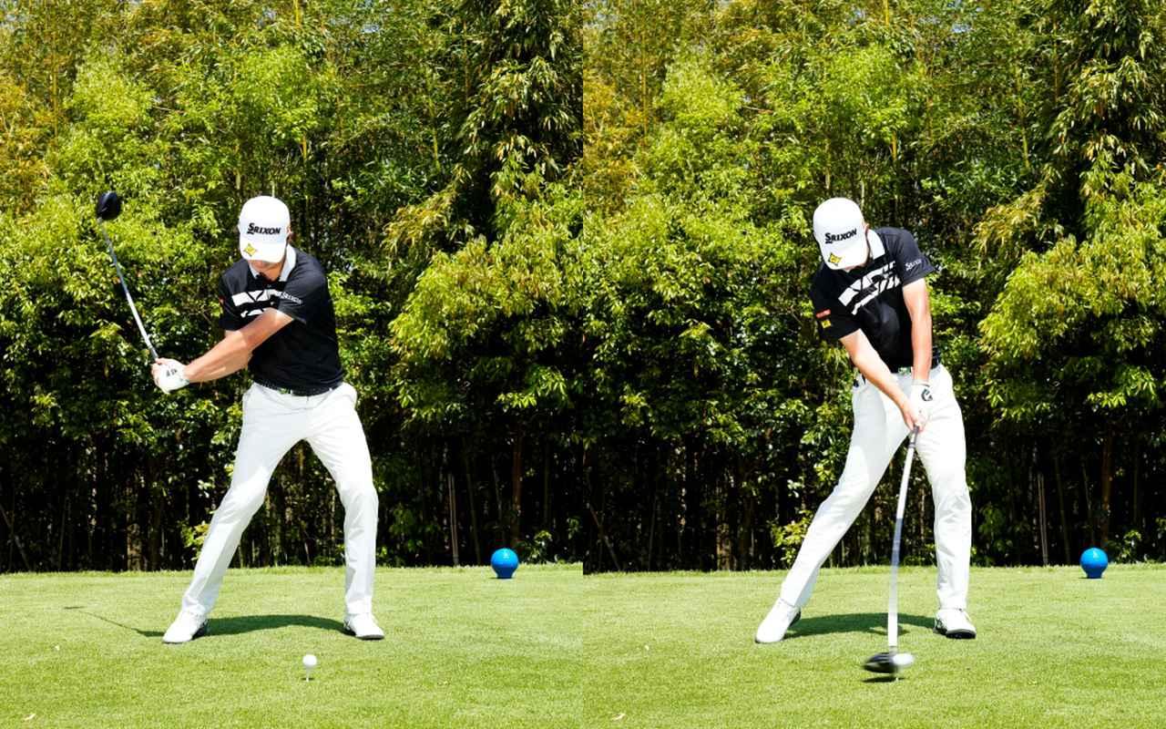 画像: 画像C  186センチの恵まれた身長を生かした大きなアーク(左)から体幹を使いボールにしっかりとエネルギーを伝えるインパクトへとつながる(写真は2021年の関西オープン 写真/岡沢裕行)