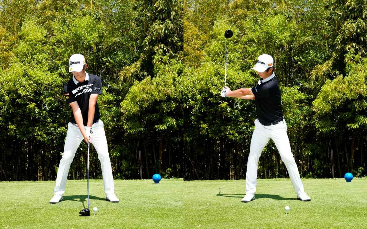画像: 画像A 肩幅よりも広いスタンス幅で大きく構え(左)、テークバックでは早い段階で背中がターゲットを向くスムーズなバックスウィング(右)(写真は2021年の関西オープン 写真/岡沢裕行)