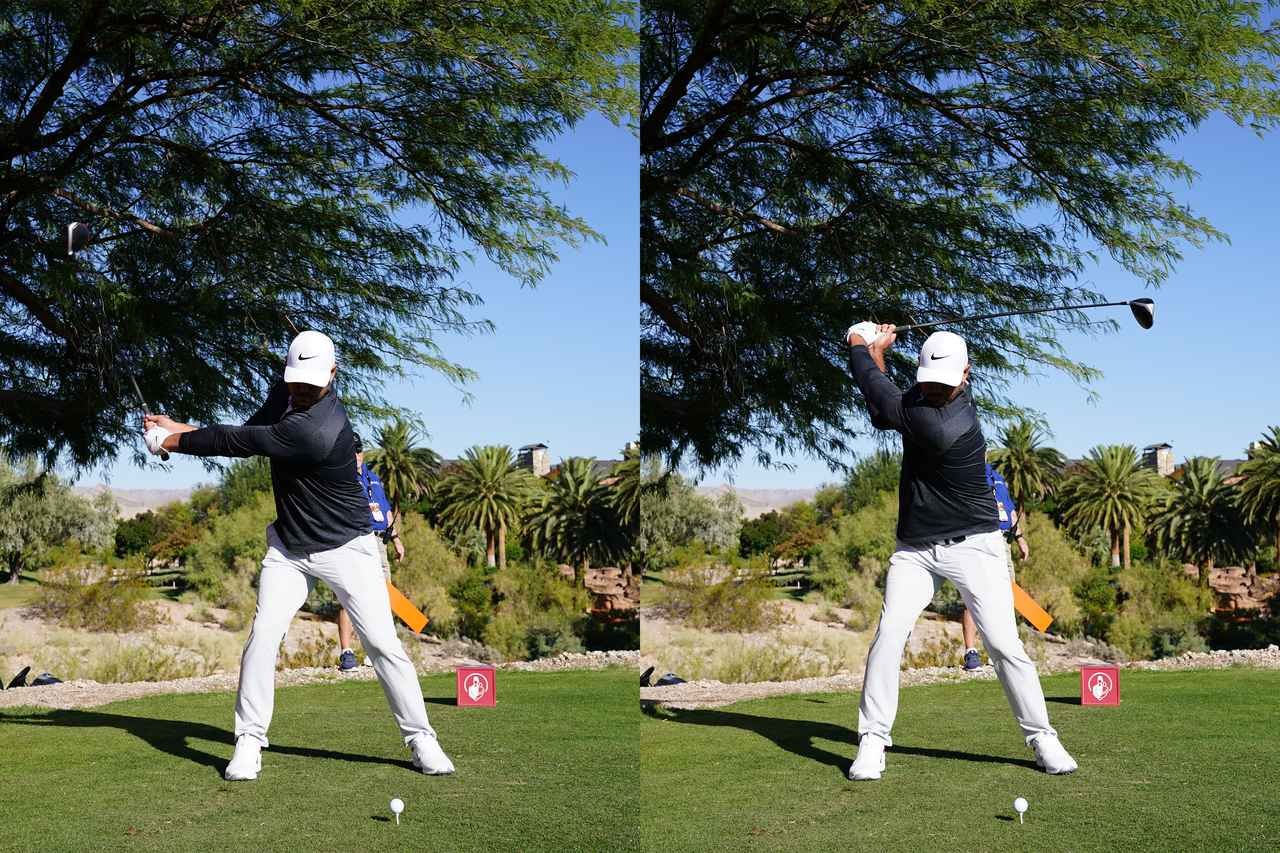 画像: ハーフウェイバック(左)からトップ(右)にかけてのスウィング。トップにかけて下半身がわずかに左にシフトしダウンスウィングの動きへとつなげている