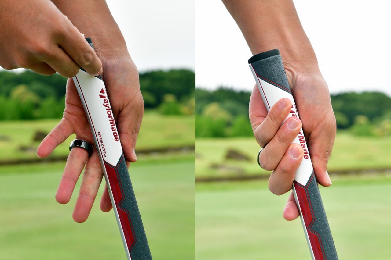 画像: 写真A:人差し指と親指が重なって一直線の状態になる形が作れたら、前腕とシャフト・グリップが平行になるように手をグリップ側面に沿わせ、あとは握るだけ。両手とも同じように握って良いと目澤