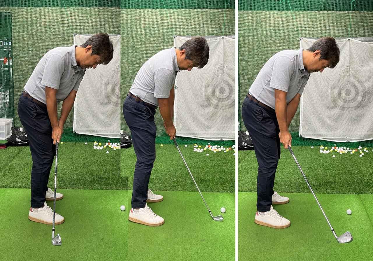 画像: (左)インサイドにクラブを引きすぎるとクラブの通り道が無くなりダフってしまう。(右)飛球線後方に真っ直ぐテークバックするのが正しい