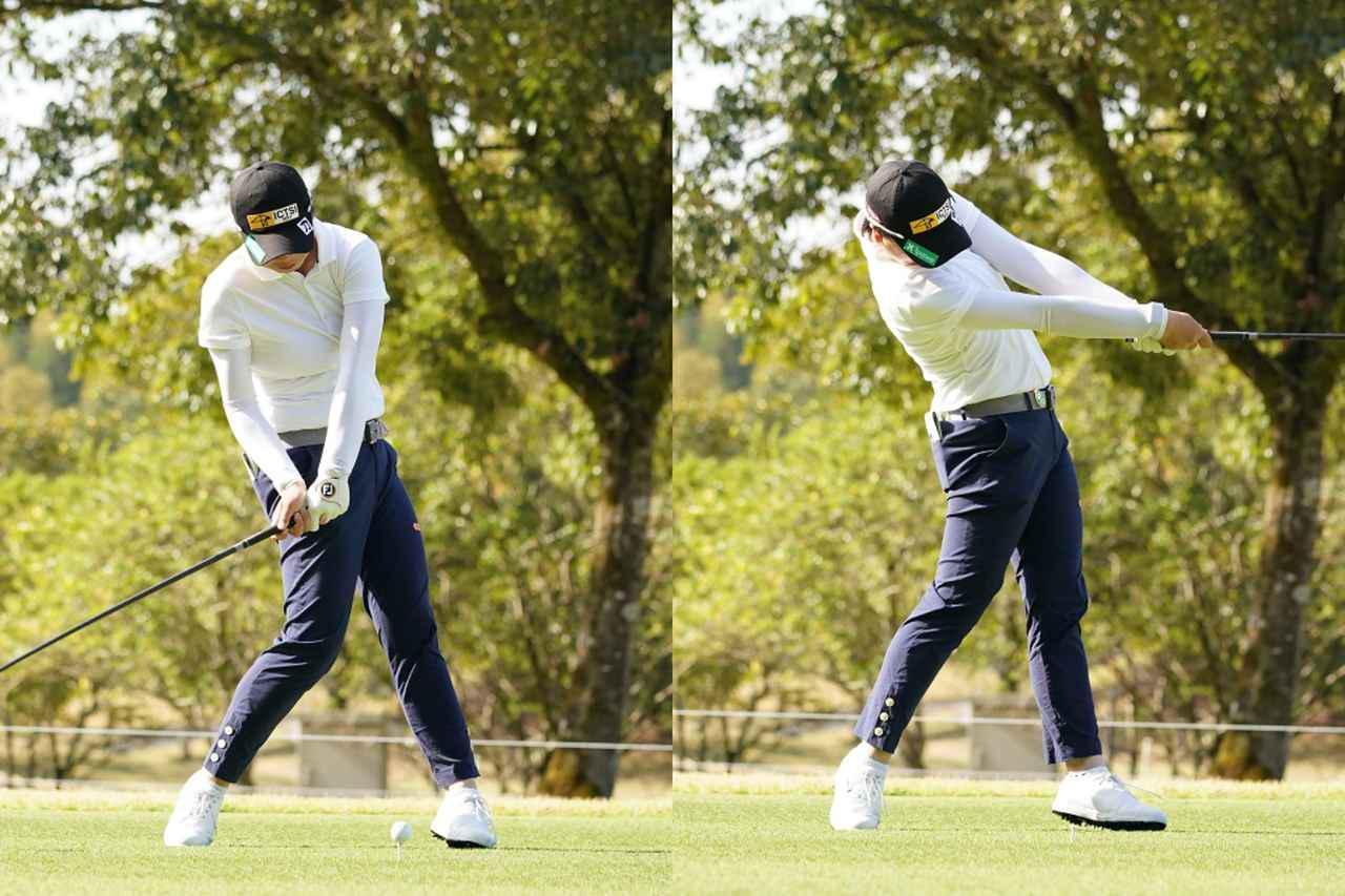 画像: ダウンスウィングで左サイドへ回転してきた右ひざを、インパクトで逆方向にツイストさせることでさらにヘッドを走らせている