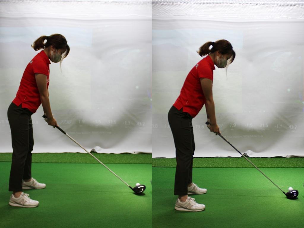 画像: 女性記者にモデルになってもらったノーマルレングス(左)と41インチドライバー(右)のアドレス比較。前傾がやや深くなり、ボールまでの距離が近い。いかにも右のほうが当たりそうだ