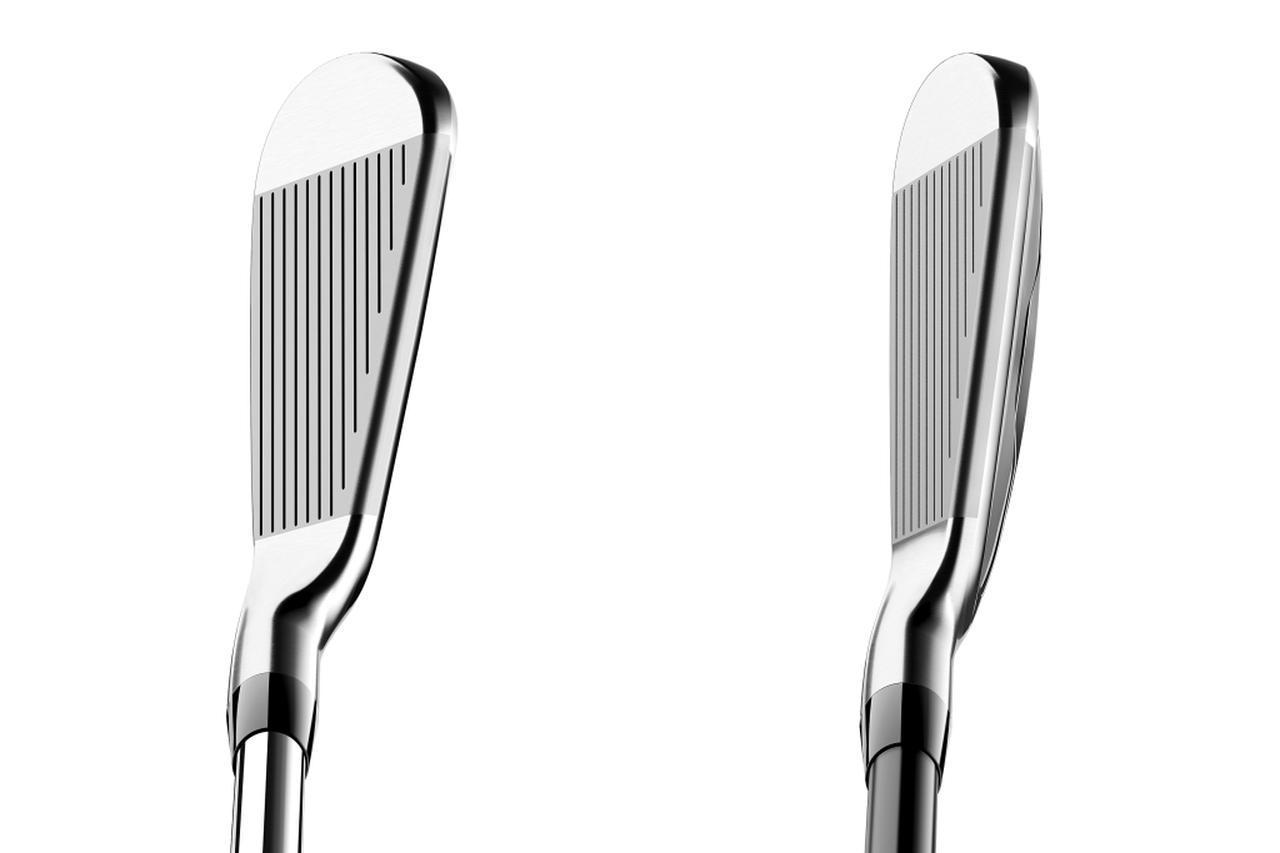 画像: 左がT200の7番、右がT200ロングの3番。ロフトが立っていることもあり、T200ロングはバックフェースが見えて寛容性を感じる見た目となっている