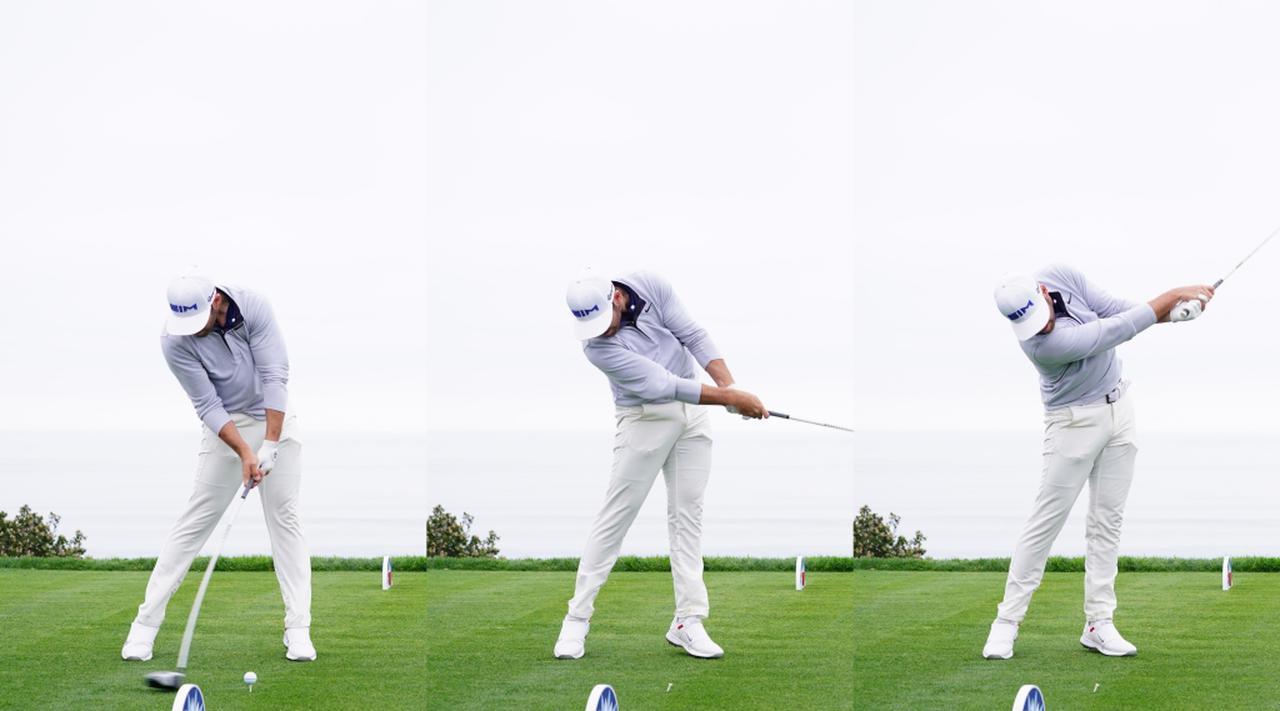 画像: 踏み込んだ左足を後ろ側に蹴ることで、インパクトからフォローにかけてスタンス幅が狭くなっている(写真は2020年のファーマーズインシュランスオープン 撮影/姉崎正)