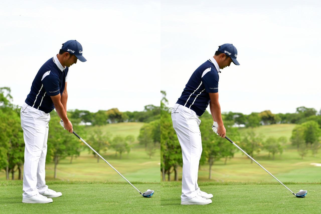 画像: フックが出るゴルファーは右肩が下がり過ぎている(左)ことが多いと目澤。スライスと同じく、飛球線後方から見たときに両腕の高さがそろうように構えよう(右)