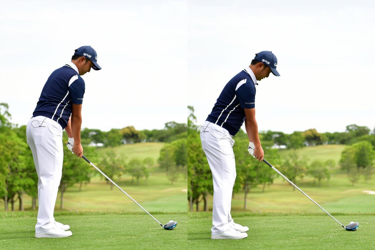 画像: 右腕を上から被せて構えている(左)ことで右肩が上がってしまうことがスライスの原因となっている場合が多いと目澤。飛球線後方から見たときに両腕の高さがそろうように構えよう(右)