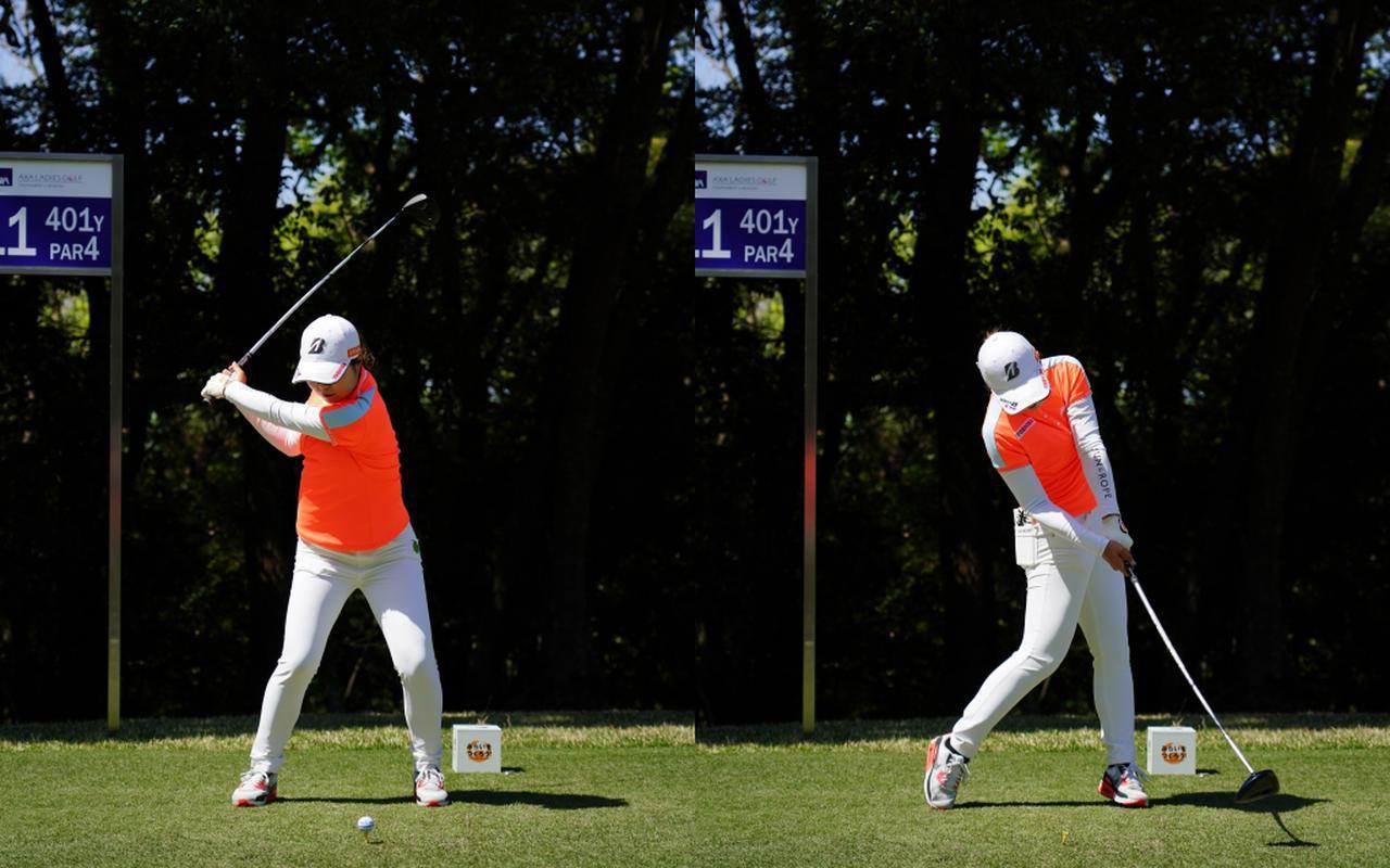 画像: 画像B トップから切り返しでも左は不動で下半身はブレることなく腰と上半身の捻転さを作る「左)、しっかりと体を回転させ引っかかるミスを防ぐ(右)(写真は2021年のアクサレディス 写真/有原裕晶)