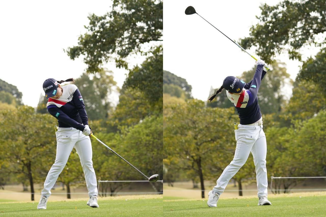画像: 画像C インパクト前に左ひざを伸ばしながら右足もしっかりと踏ん張ることで軸を保ち(左)、フォローでも両わきを締める感覚を保つことでクラブの軌道を安定させている(右)(写真は2021年のTポイント×エネオスゴルフ 写真/大澤進二)