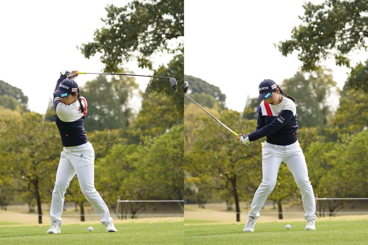 画像: 画像B  両わきを締めた感覚を保ったままトップまでねじり(左)、地面を踏み込んで下半身を使って切り返えす(右)(写真は2021年のTポイント×エネオスゴルフ 写真/大澤進二)