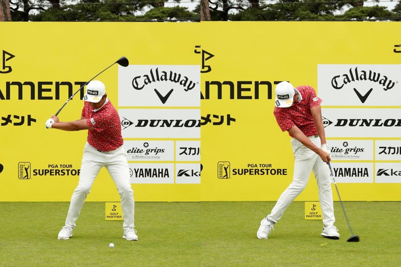 画像: 画像B 手元と体の距離を保ちながら体幹を使って切り返すことでシャフトに負荷をかける(左)、頭の高さを変えずに左あし伸ばすように使い地面からの反力を回転力に変換する(右)(写真は2021年のゴルフパートナープロアマトーナメント)