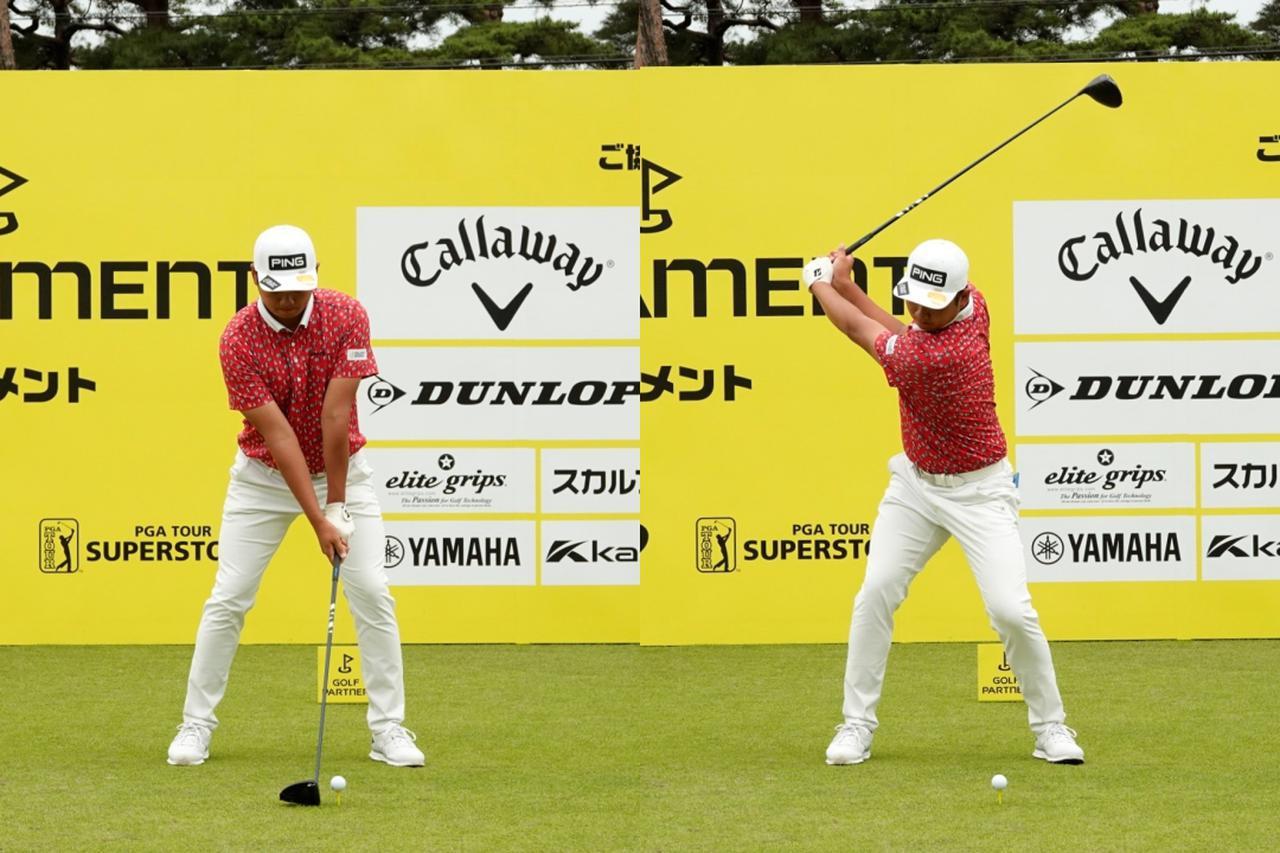 画像: 画像A 両わきを締め左腕とクラブが一直線になるように構え(左)、腕の動きを極力排除し手元が体から遠いコンパクトなトップ(右)(写真は2021年のゴルフパートナープロアマトーナメント)