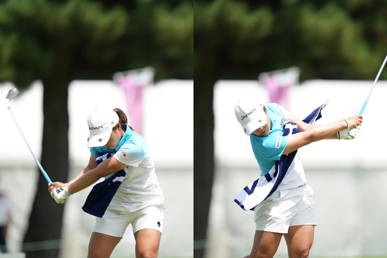 画像: 「テークバックで腕が長くなってしまいトップが不安定になる」とタオルを両わきに挟んだドリルで修正した(写真は2021年の東京オリンピックゴルフ女子)
