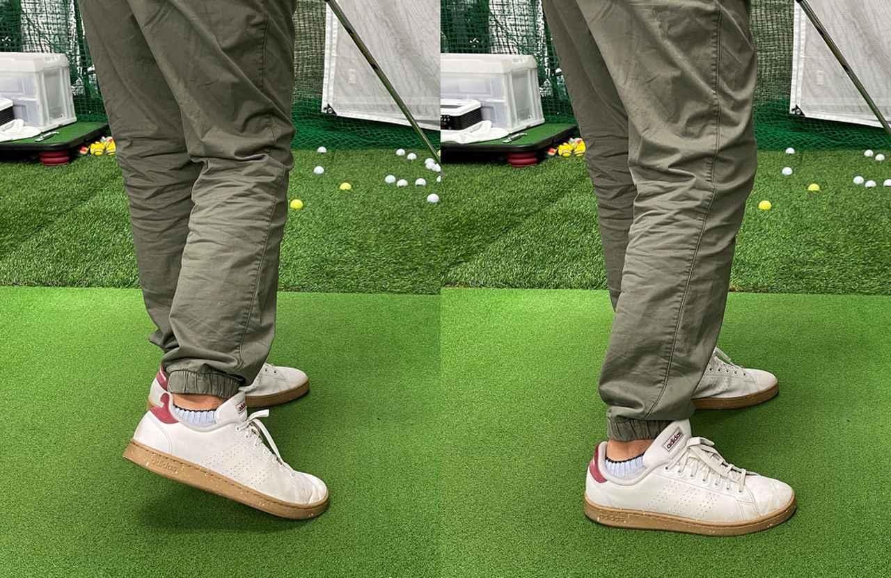 画像: (左)何も考えずに打つと右足かかとが浮いてしまっていました。(右)最後までかかとを浮かさないベタ足を意識して打ちましょう