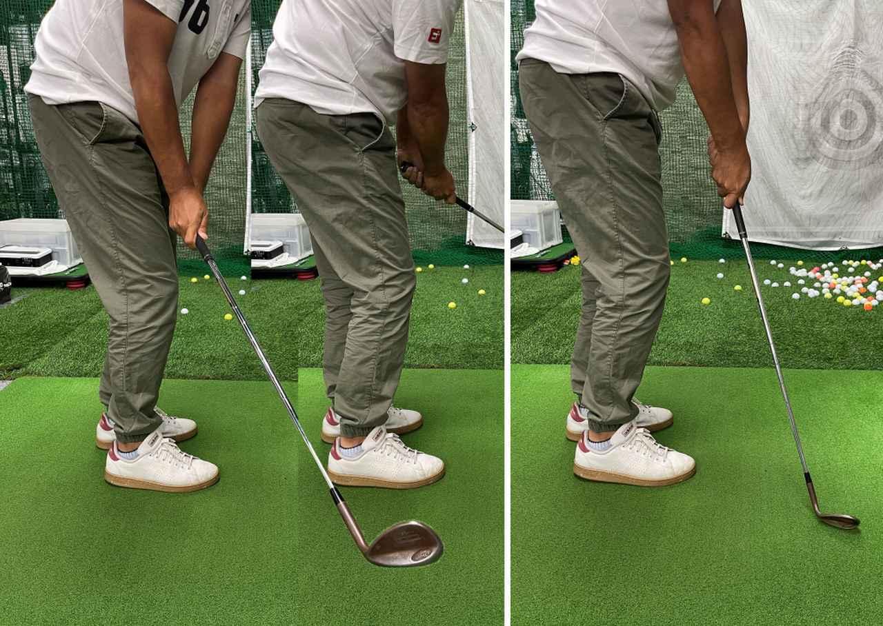 画像: (左)手首の角度をキープしたままスウィングする。(右)手首の角度がほどけるとダフってしまう
