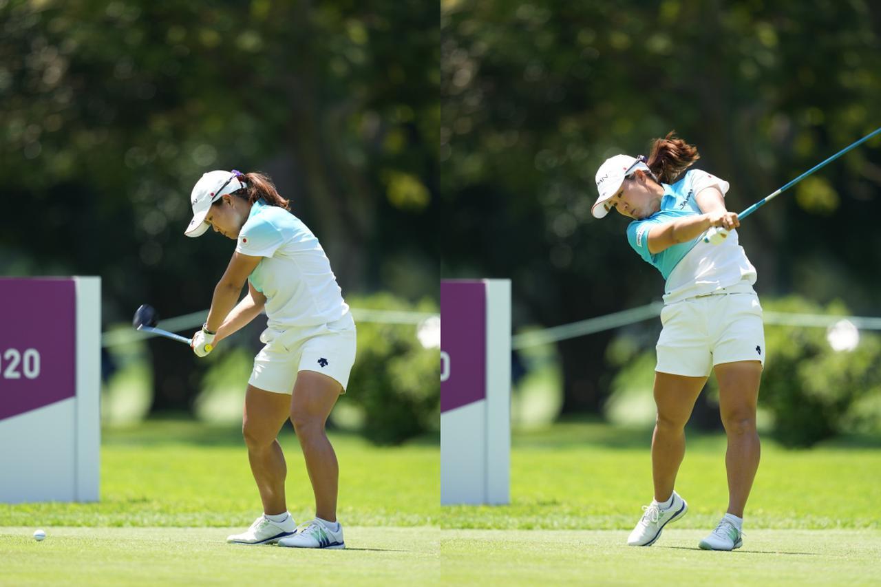 画像: 画像A:コンパクトでややフラットなトップから体と腕の同調したスウィングが持ち味の畑岡奈紗(写真は2021年の東京オリンピックゴルフ女子)