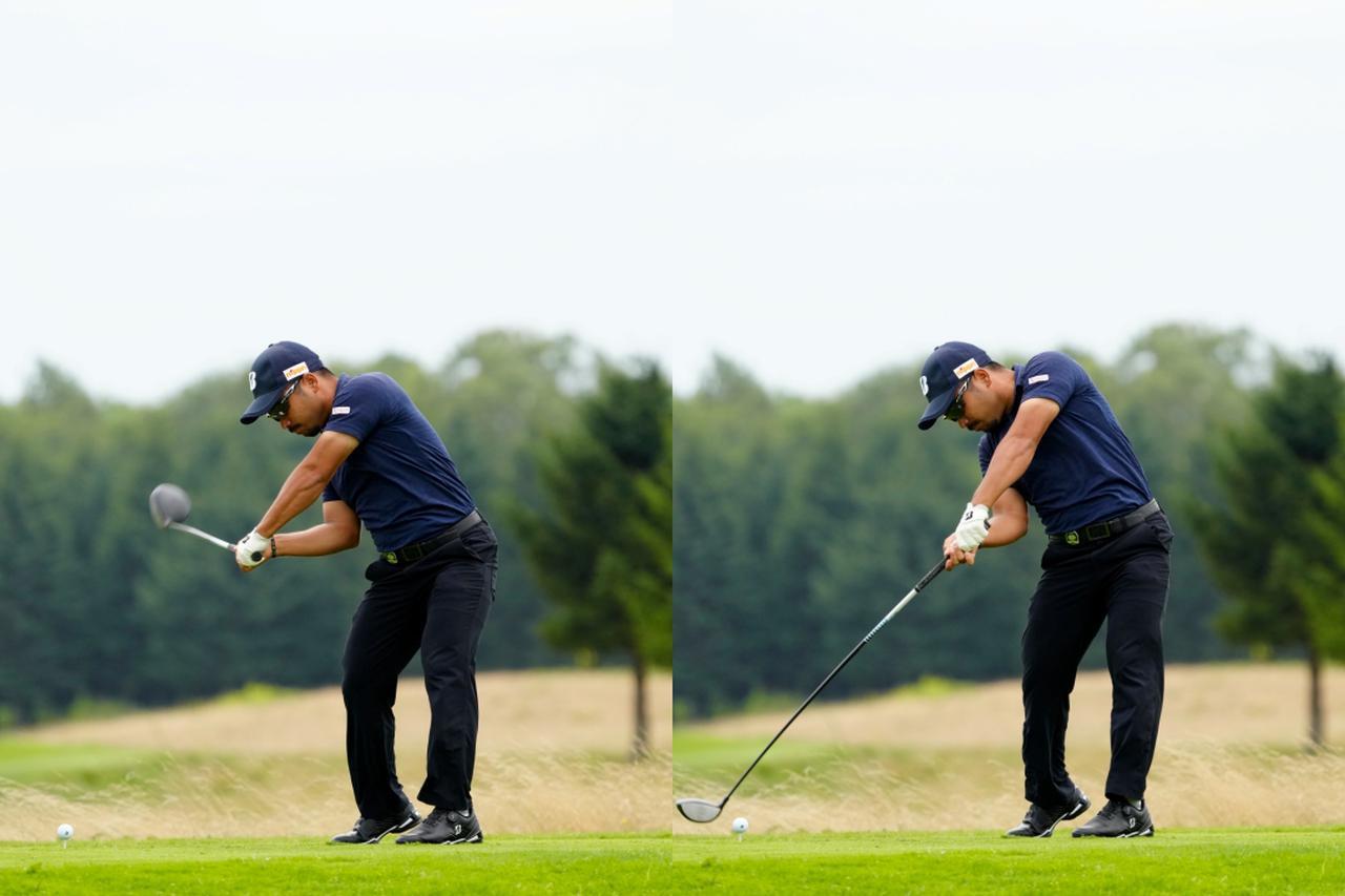 画像: 画像B トップでフェースが空を向くシャットな使い方から早い段階でフェースをボールに向けながらダウンスウィングし(左)、体の回転を止めずにインパクトを迎える(右)(写真は2021年の長嶋茂雄INVITATIONALセガサミーカップ 写真/岡沢裕行)