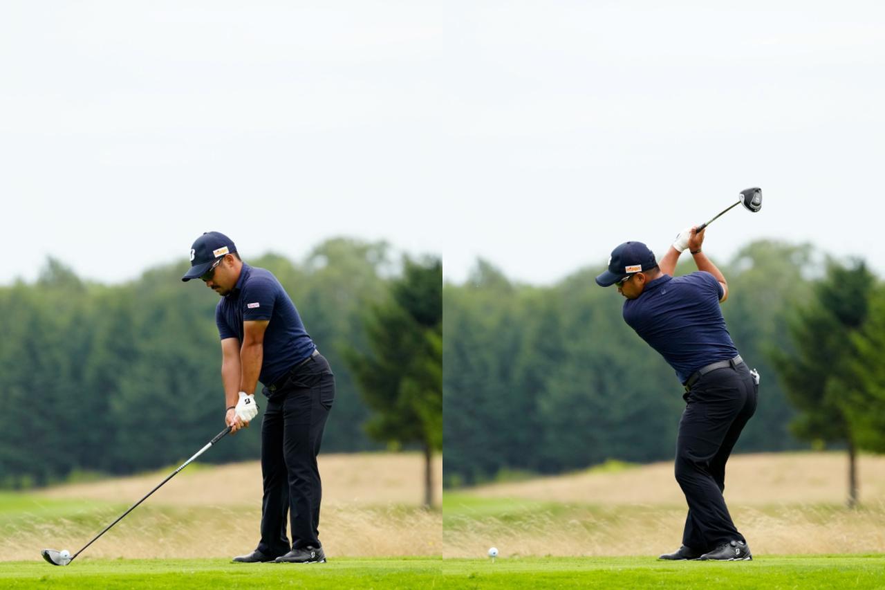 画像: 画像A バランスの良いアドレスから(左)背中がターゲットに向くように深いバックスウィングで柔軟性も兼ね備える(右)(写真は2021年の長嶋茂雄INVITATIONALセガサミーカップ 写真/岡沢裕行)
