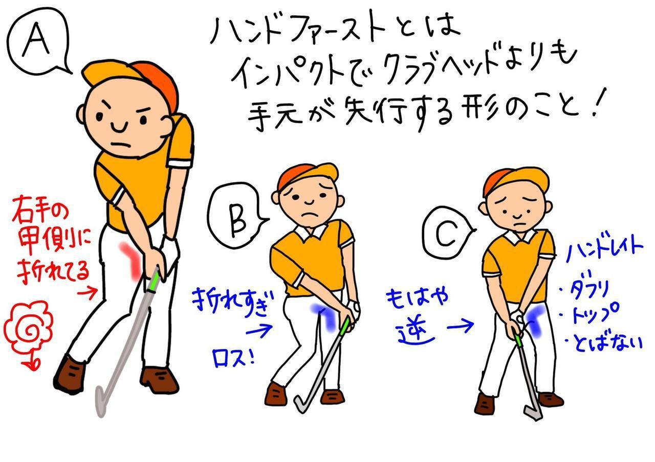 画像: 画像1:Aのように右手首が手の甲側に折れているのが正しいハンドファーストの形。Bは手元が過剰に先行し過ぎてエネルギーをロスしてしまい、Cのハンドレイトの形はダフリやトップの原因にもなる