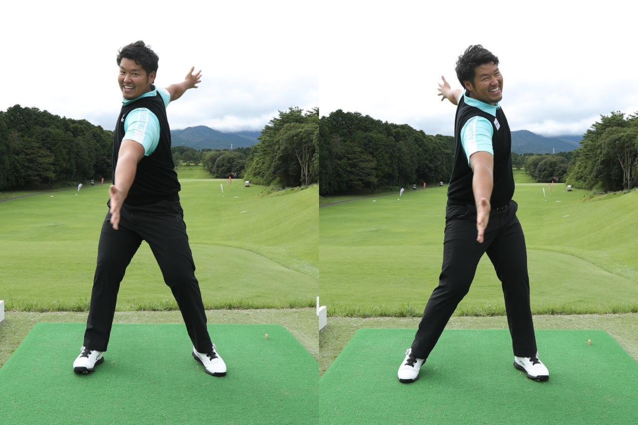 画像: 両腕を肩の高さで真横に広げアドレス時の前傾角を作って、左肩・右肩を交互に体の正面側に動かすイメージで上半身をほぐす