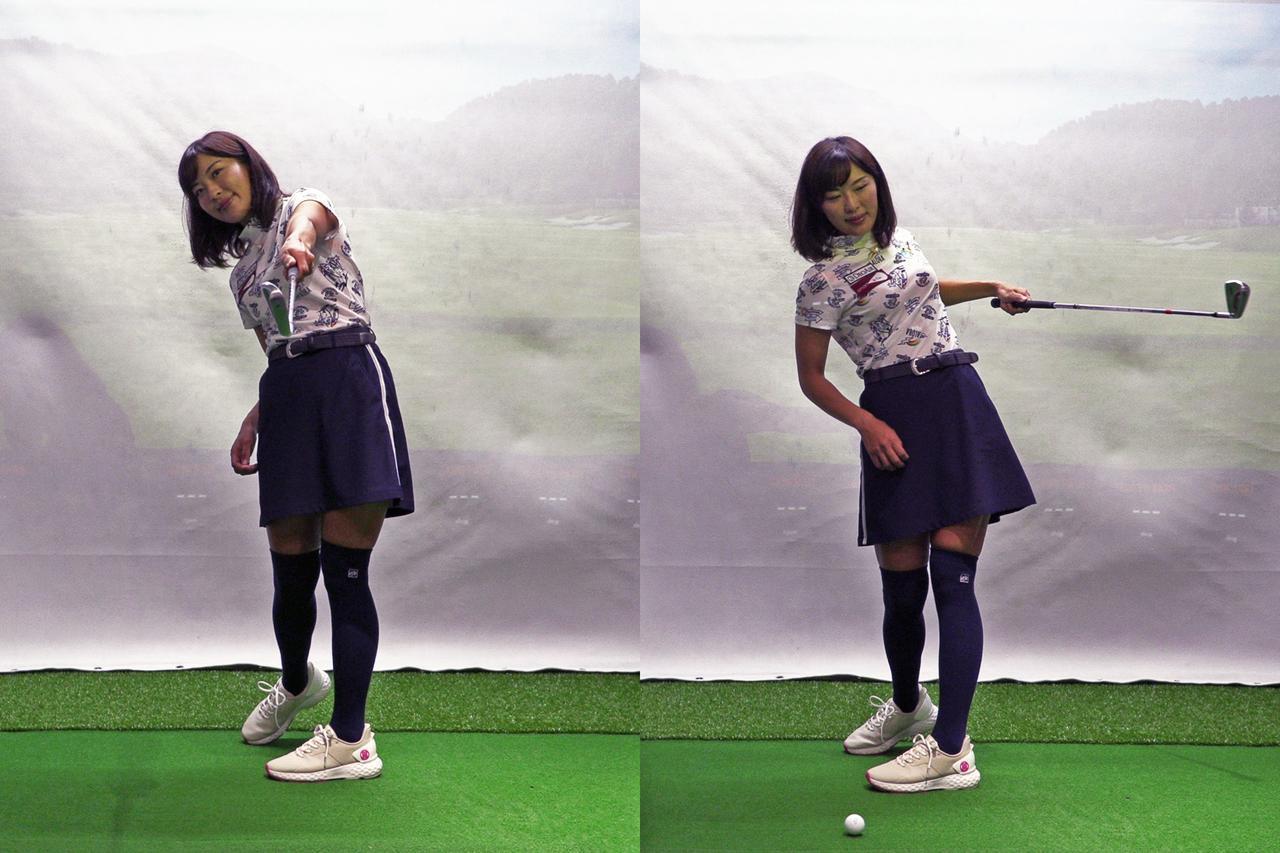 画像: 小澤が左ひじの引けを直すためにオススメするのが左手1本でクラブを持ち素振りする練習法。左のように、フォロースルーで腕を伸ばし、ヘッドがターゲット方向を指すように振ってみよう。右のようにヘッドが目標方向より左側を向いた状態はNG