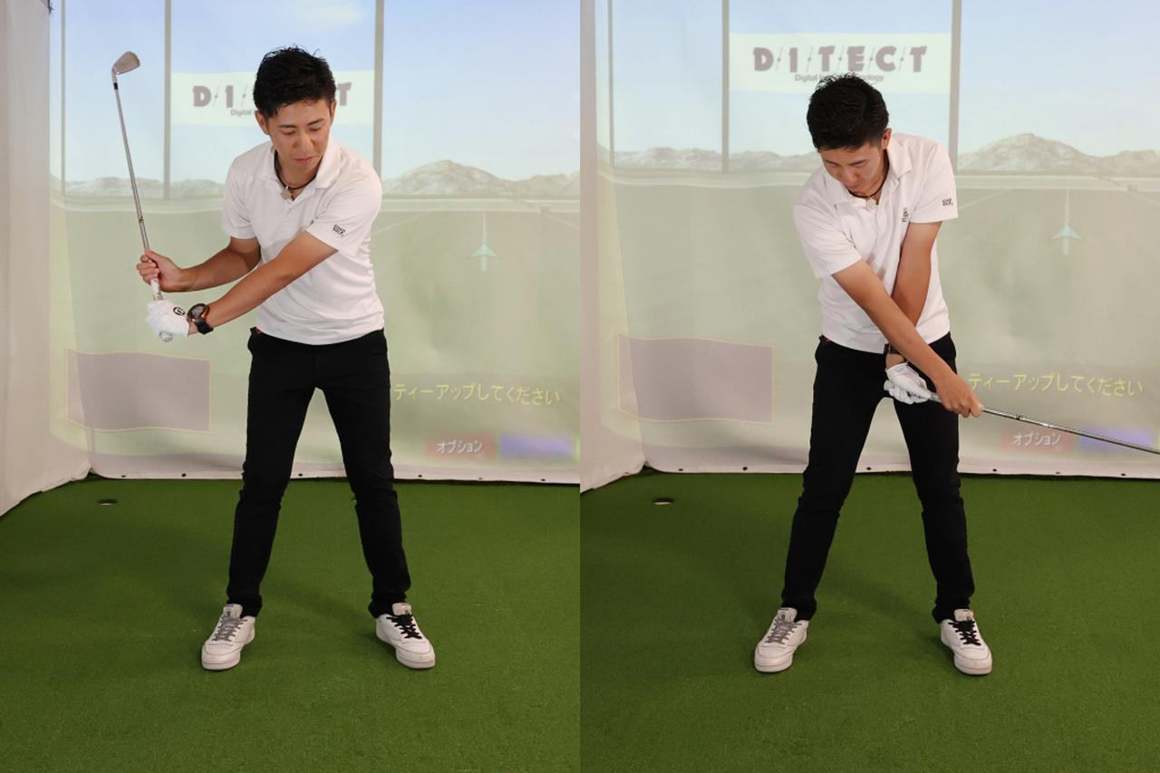 画像: 両手を離して握るスプリットハンドでスウィングすることでフェースローテーションの感覚をつかめる。手首を返すタイミングは体の正面が正解だ