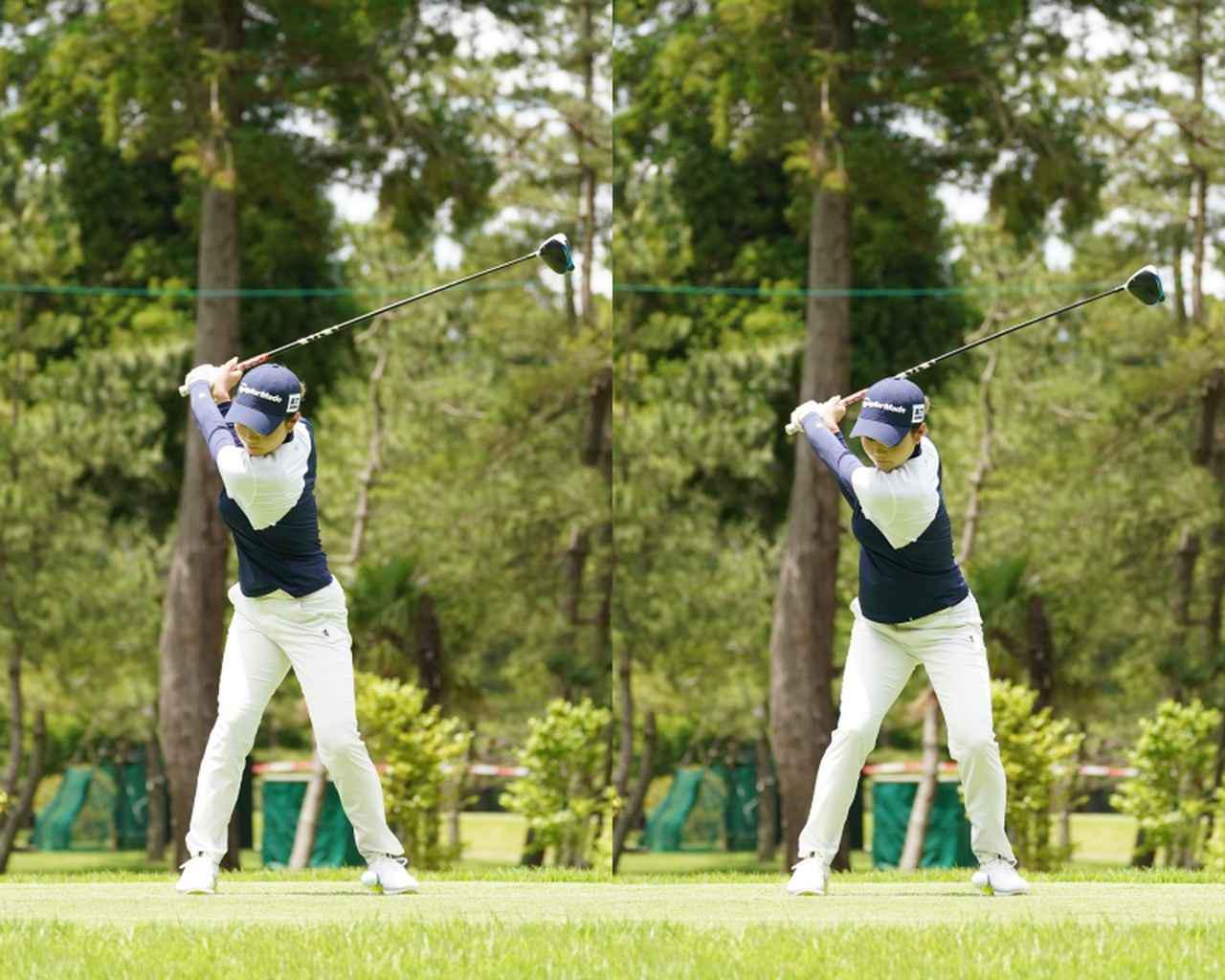 画像: 画像A 頭の高さが沈み込むように前傾を深くなるように切り返すことでトップでの間を作り大きな回転力へと変換する(写真は2021年のニチレイレディス 写真/大澤進二)