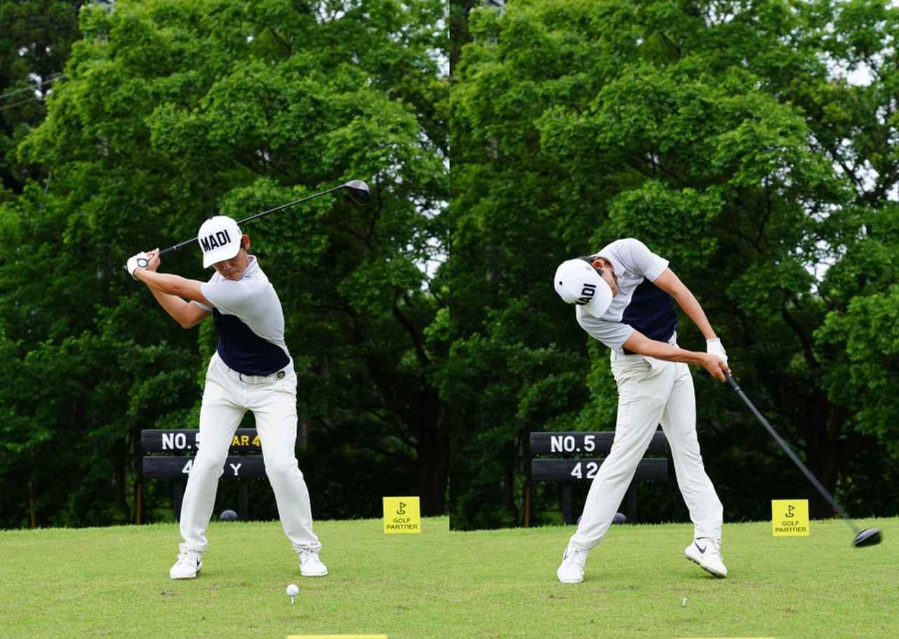画像: しっかりと地面を踏み込み(左)、左足を伸ばし回転力に変換し体の強い回転で大きな飛距離を得る(右)(写真は2021年のゴルフパートナープロアマトーナメント 写真/姉崎正)