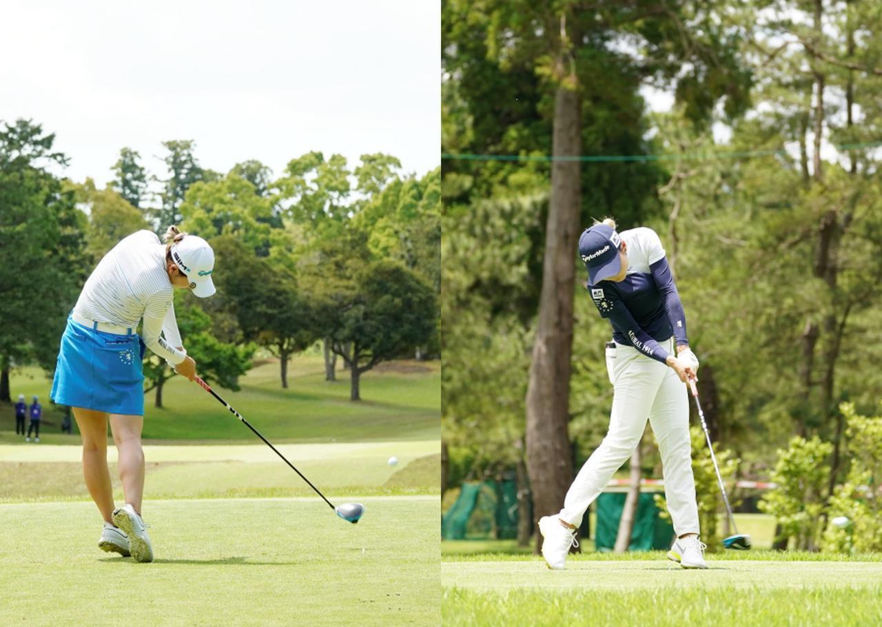 画像: 画像C 右体側の側屈、右ひじの曲がり、おへそターゲットに向くくらいの回転量を飛ばしのエネルギーに変換する(写真は2021年パナソニックオープンレディース(左)とニチレイレディス(右)写真/大澤進二)